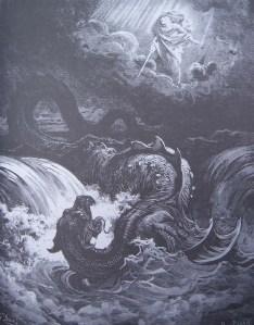 gravure dore bible - dieu fait perir leviathan - vision d isaie